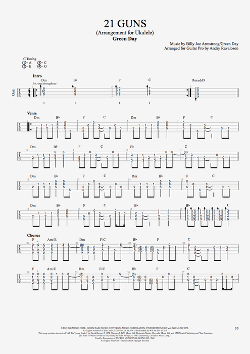 21 Guns By Green Day Solo Ukulele Guitar Pro Tab Mysongbook