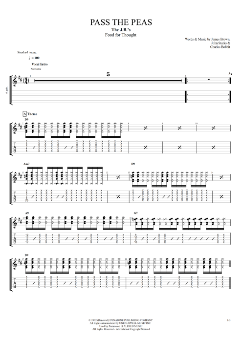Pass The Peas By James Brown Full Score Guitar Pro Tab