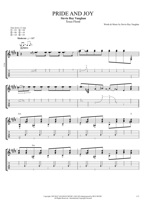 Pride and Joy by Stevie Ray Vaughan - Full Score Guitar Pro Tab ...