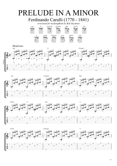 Guitar guitar tabs a minor : Prelude in A minor by Ferdinando Carulli - Solo Guitar Guitar Pro ...