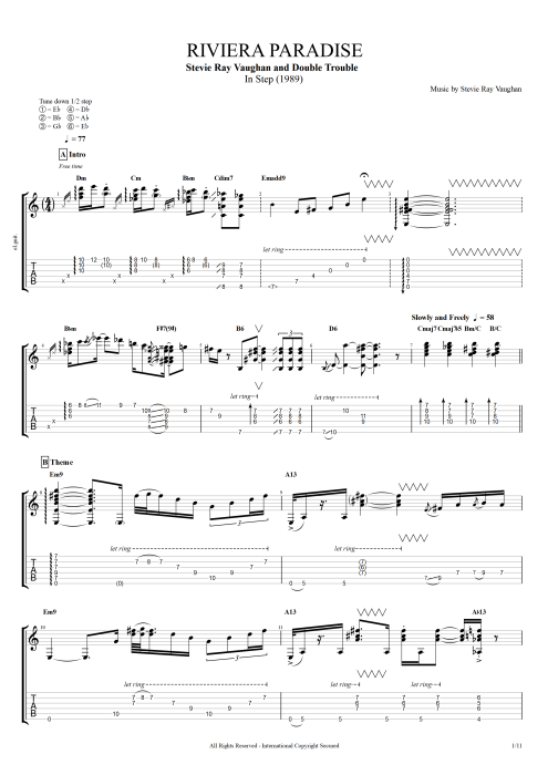 Riviera Paradise By Stevie Ray Vaughan Full Score Guitar