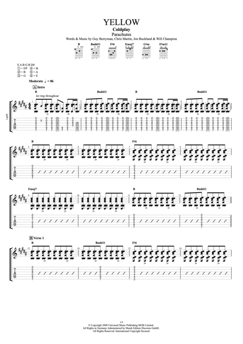 Yellow by Coldplay - Full Score Guitar Pro Tab | mySongBook.com