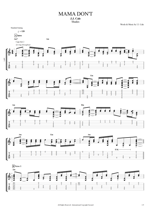Mama Dont By Jj Cale Full Score Guitar Pro Tab Mysongbook