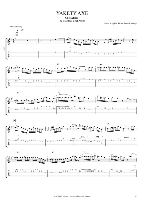 yakety axe by chet atkins full score guitar pro tab. Black Bedroom Furniture Sets. Home Design Ideas