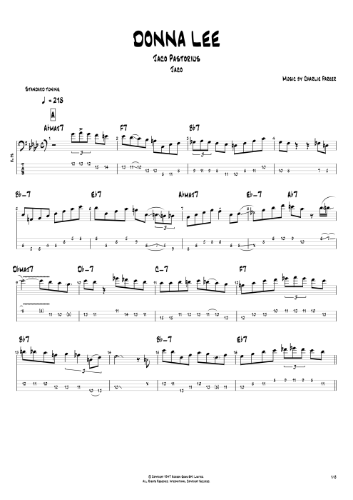 Donna Lee By Jaco Pastorius Full Score Guitar Pro Tab