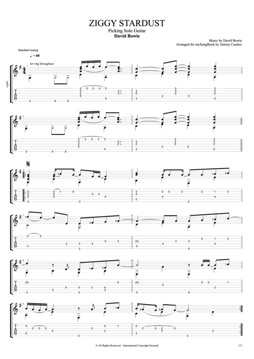 Ziggy Stardust by David Bowie - Picking Solo Guitar Guitar Pro Tab : mySongBook.com