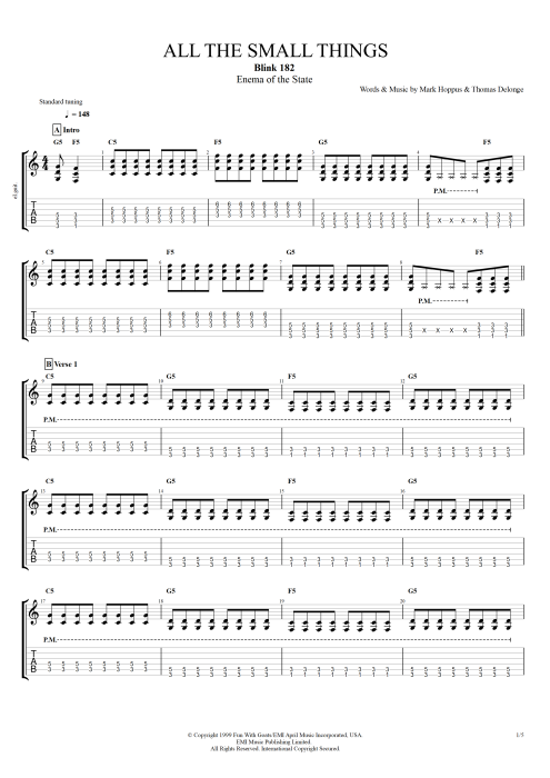 All the Small Things by Blink-182 - Full Score Guitar Pro Tab : mySongBook.com