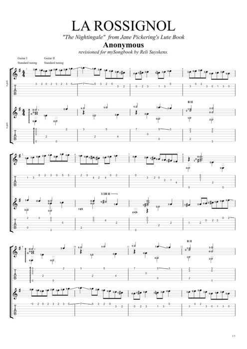 Le Rossignol by Traditional - Guitar Duet Guitar Pro Tab