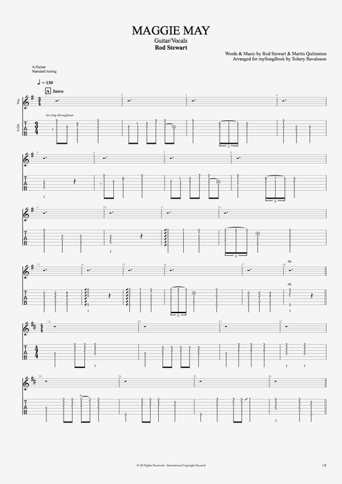 Maggie May By Rod Stewart Guitarvocals Guitar Pro Tab