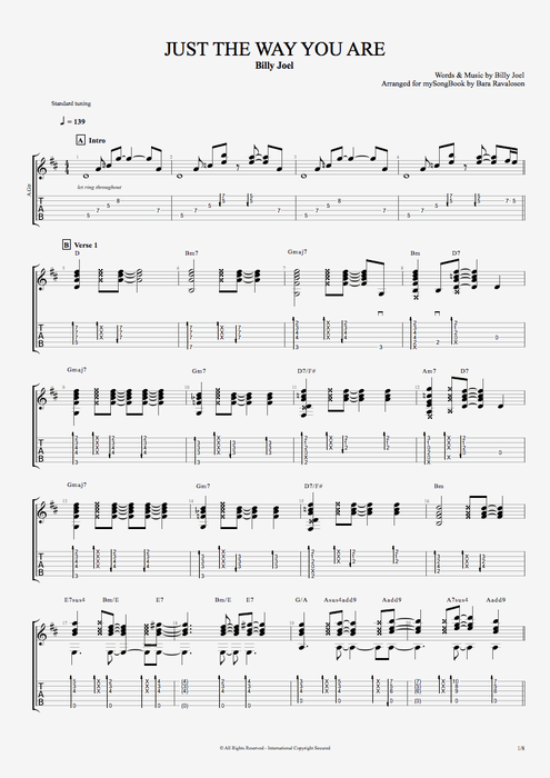 Just The Way You Are By Billy Joel Guitarvocals Guitar Pro Tab