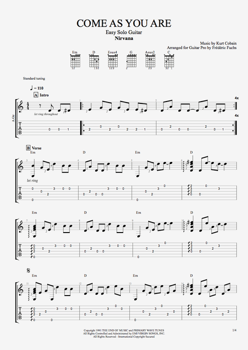 Come as You Are by Nirvana - Easy Solo Guitar Guitar Pro Tab : mySongBook.com