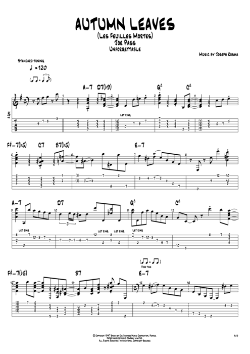 Autumn Leaves By Joe Pass Full Score Guitar Pro Tab Mysongbook