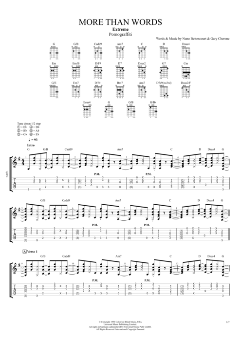 More Than Words by Extreme - Full Score Guitar Pro Tab | mySongBook.com