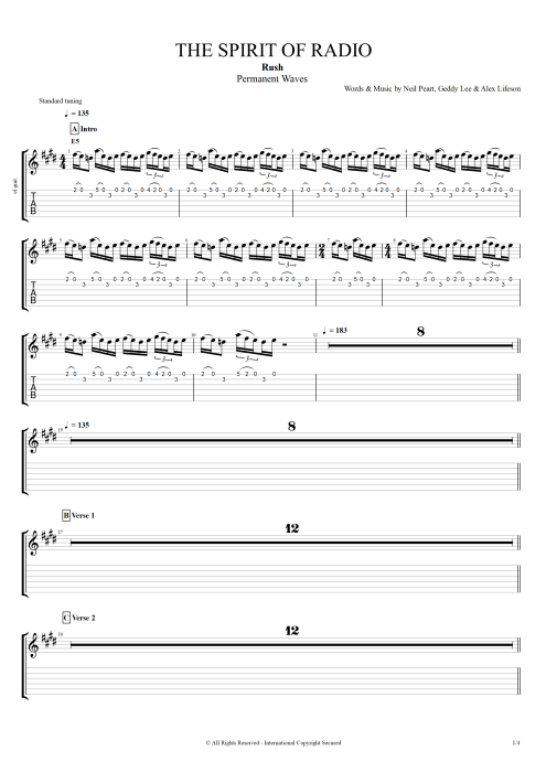 The Spirit Of Radio By Rush Full Score Guitar Pro Tab Mysongbook Com
