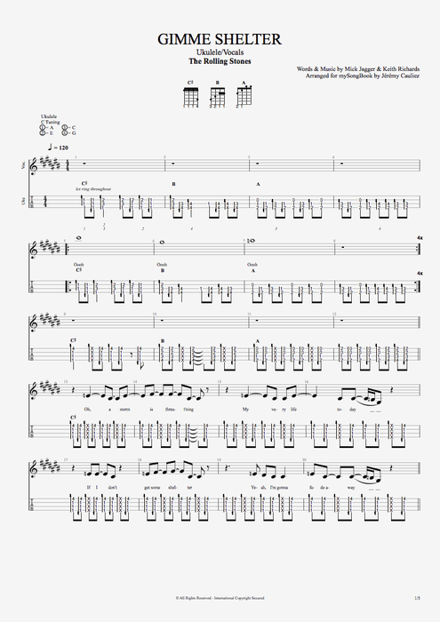 Gimme Shelter By The Rolling Stones Ukulelevocals Guitar Pro Tab