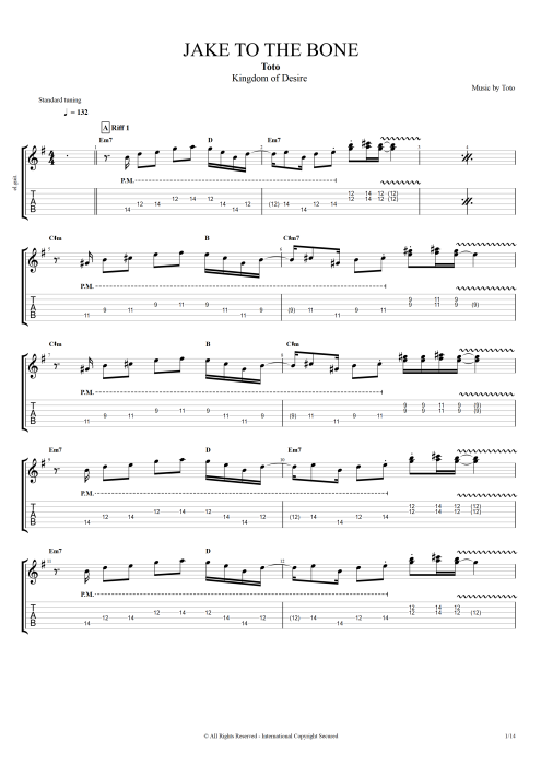 Jake To The Bone By Toto Full Score Guitar Pro Tab Mysongbook