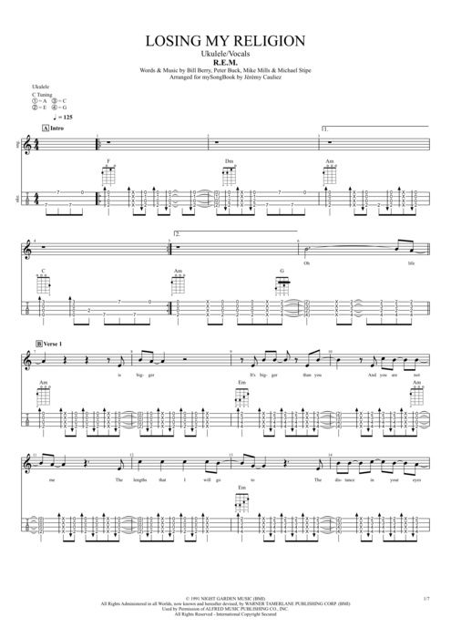Losing My Religion by R.E.M. - Ukulele/Vocals Guitar Pro Tab ...