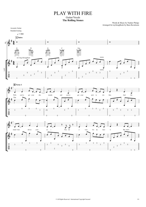 Play With Fire By The Rolling Stones Guitarvocals Guitar Pro Tab