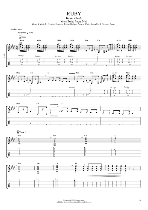 Ruby By Kaiser Chiefs Full Score Guitar Pro Tab