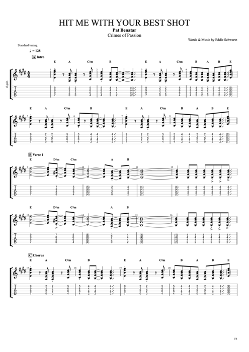Guitar best guitar tabs : Hit Me with Your Best Shot by Pat Benatar - Full Score Guitar Pro ...