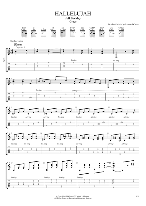 Hallelujah By Jeff Buckley Full Score Guitar Pro Tab