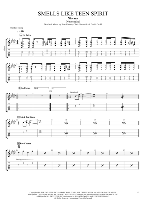 Smells Like Teen Spirit by Nirvana - Full Score Guitar Pro Tab ...