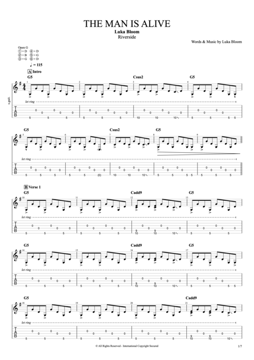The Man Is Alive - Luka Bloom tablature