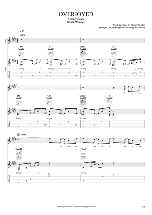 Overjoyed - Stevie Wonder tablature