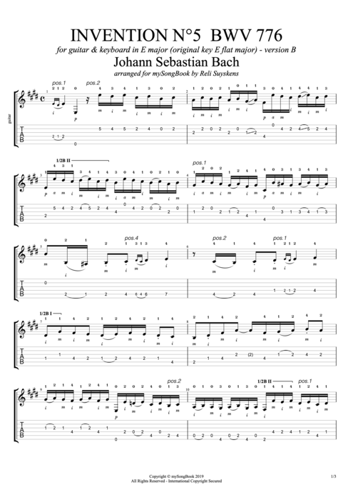 Invention N°5 BWV 776 in E Major (Version B) - Johann Sebastian Bach tablature