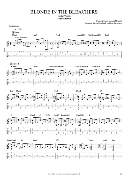 Blonde in the Bleachers - Joni Mitchell tablature