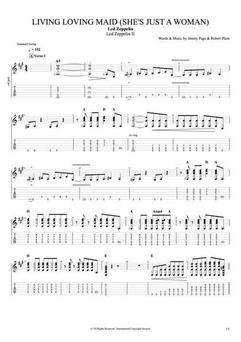Living Loving Maid (She's Just a Woman) - Led Zeppelin tablature