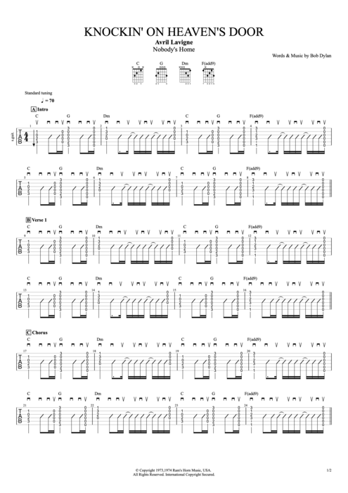 Knockin' on Heaven's Door - Avril Lavigne tablature