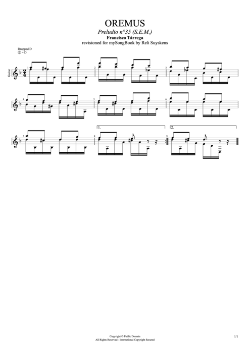 Oremus Preludio n°35 (S.E.M.) - Francisco Tarrega tablature