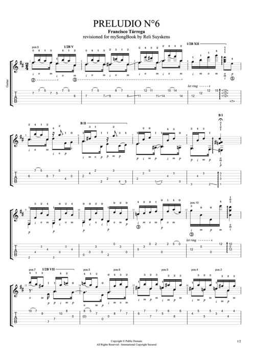 Preludio n°6 - Francisco Tarrega tablature