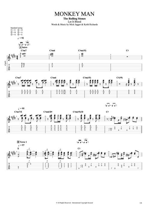 Monkey Man - The Rolling Stones tablature