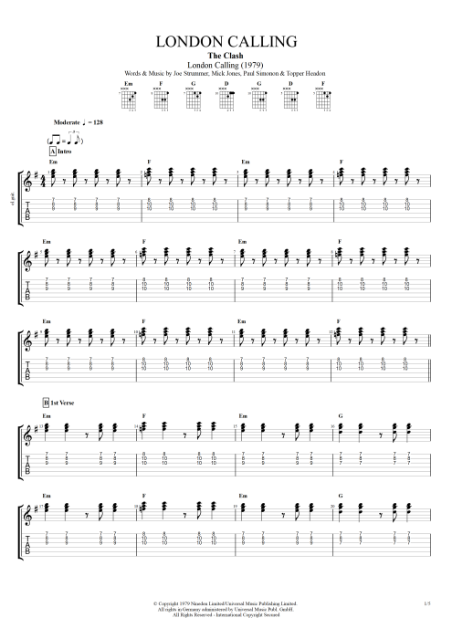 London Calling - The Clash tablature