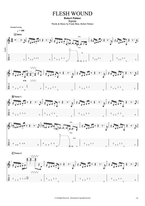 Flesh Wound - Robert Palmer tablature