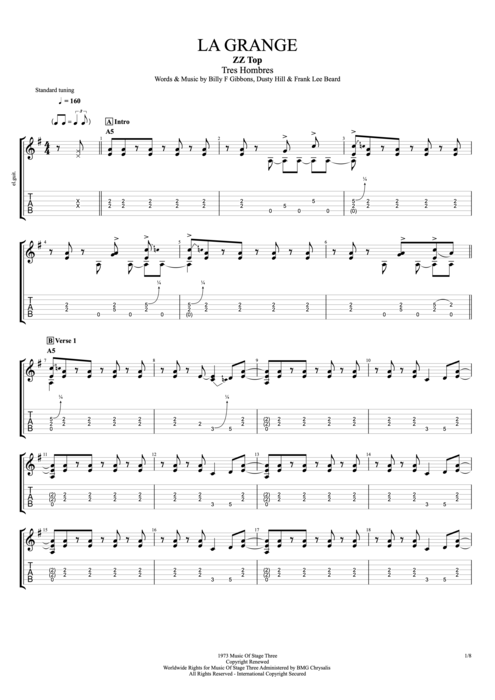 La Grange - ZZ Top tablature