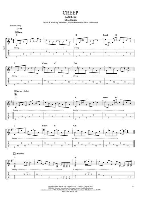 Creep - Radiohead tablature