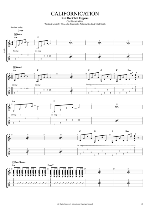 Californication - Red Hot Chili Peppers tablature