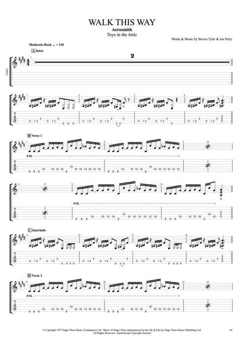 Walk This Way - Aerosmith tablature
