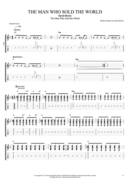 The Man Who Sold the World - David Bowie tablature