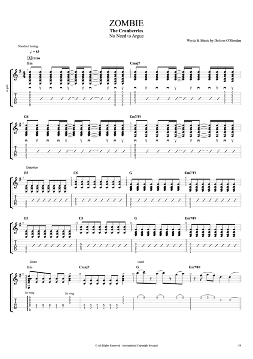 Zombie - The Cranberries tablature