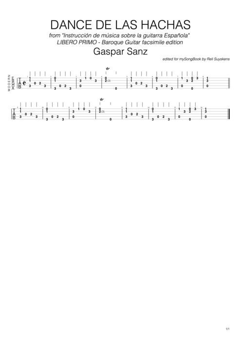 Dance de la hachas (Facsimile Edition) - Gaspar Sanz tablature