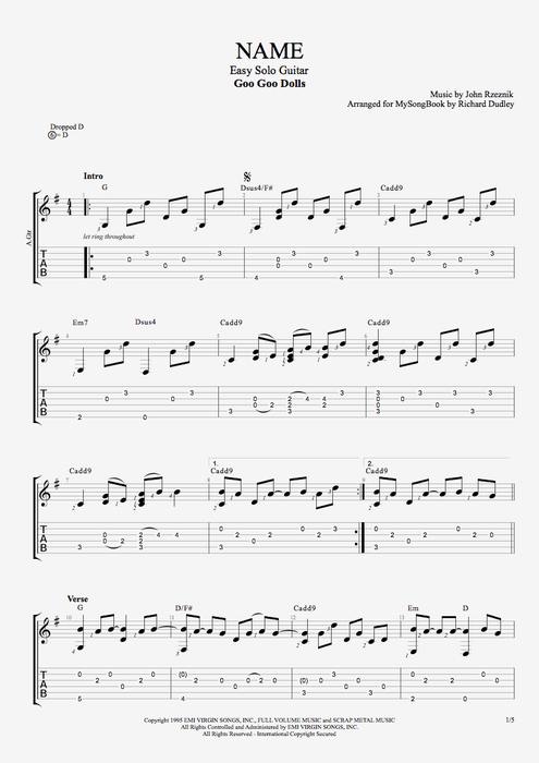 Name - Goo Goo Dolls tablature