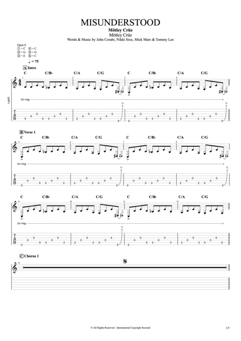 Misunderstood - Mötley Crüe tablature