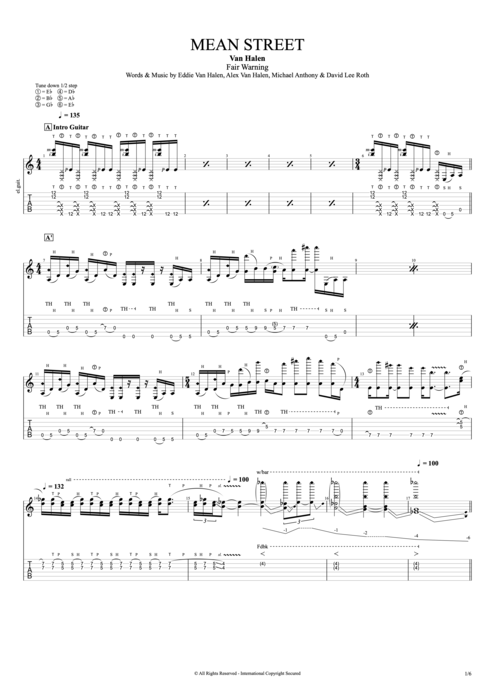 Mean Street - Van Halen tablature