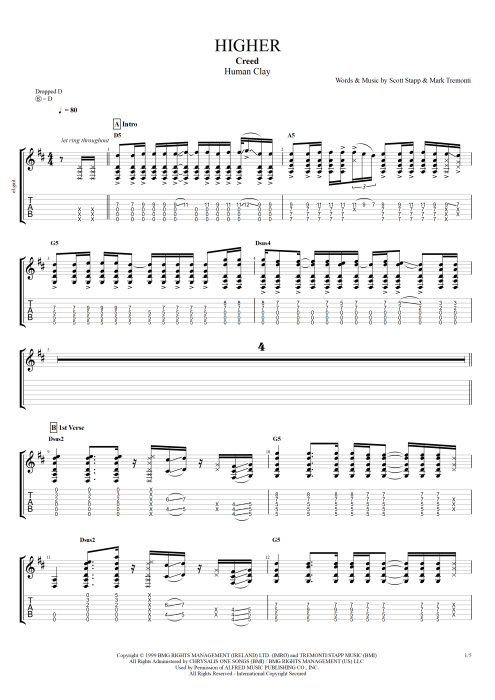 Higher - Creed tablature