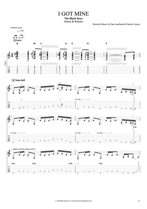I Got Mine - The Black Keys tablature