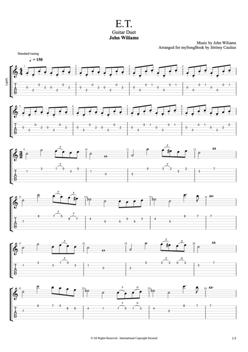 E.T. (from the Motion Picture) - John Williams tablature